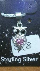 Crystal Evolution Pink Owl Pendant