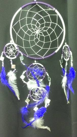 Purple and White with Mirrors Dreamcatcher 16.5cms
