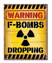 Warning F-Bombs Retro Tin Sign