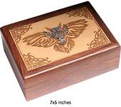 Wood Box Engraved With Metal-Owl