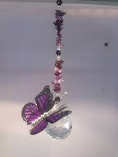 Purple Butterfly Suncatcher with Amethyst Crystals