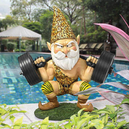 "Atlas, the Athletic"" Weightlifting Gnome Statue"
