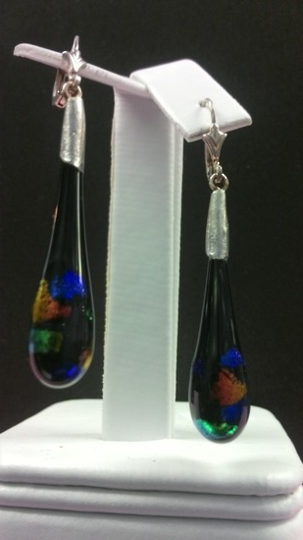 Handmade Black Multicoloured Fancy Glass Earrings