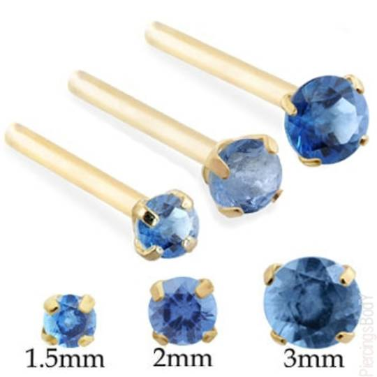 14kt Gold with Dark Blue CZ 2mm L shape