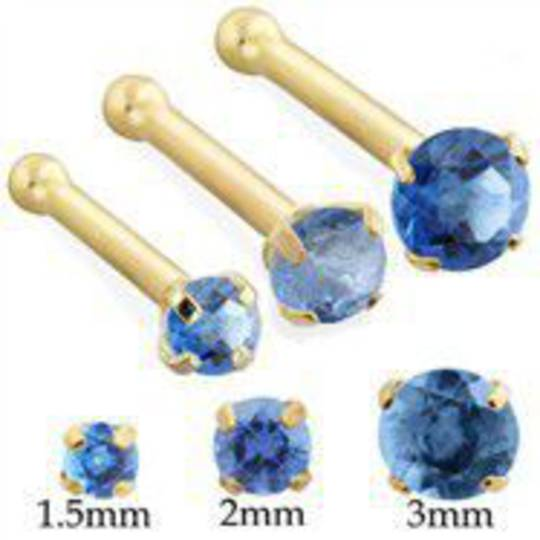 2mm Light Blue CZ 14kt Gold Bone Nose Stud