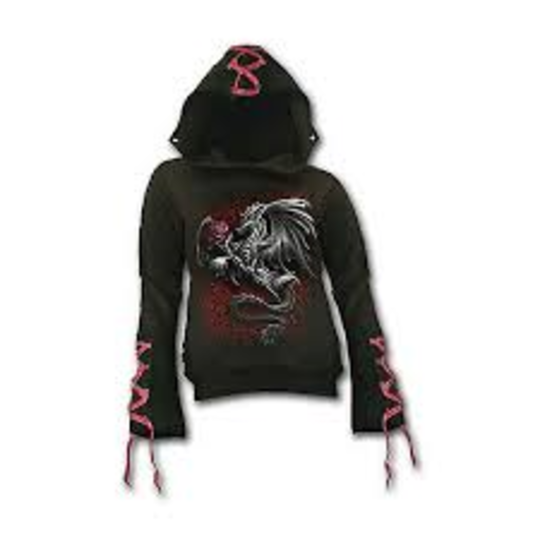 DRAGON ROSE - Red Ribbon Gothic Hoody Black XL was $120 now $60