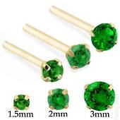 14Kt Gold and Emerald Nose Stud L Shaped