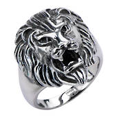 Stainless Steel Black Oxidized Lion Head Ring