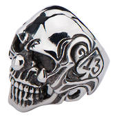 Stainless Steel Skull Ring with 13 inside the Spade