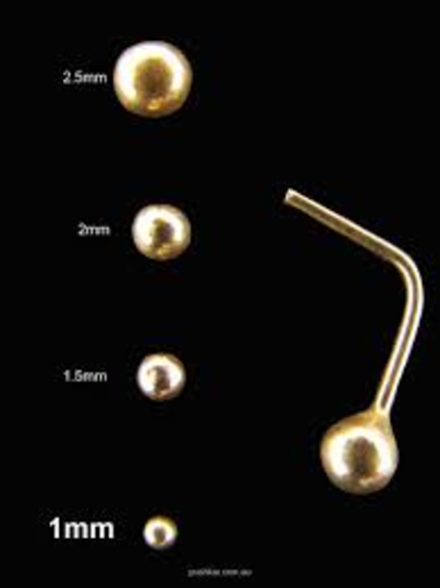 14kt Gold Ball L Shape Nose Stud  2mm