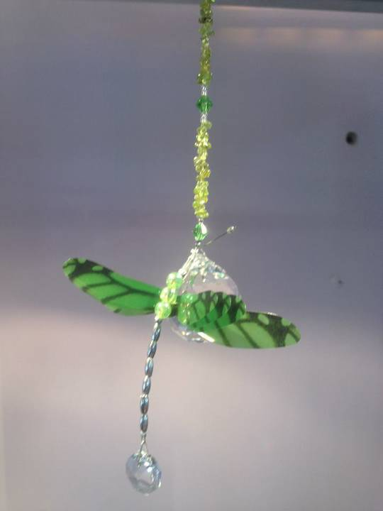 Green Dragonfly Suncatcher with Peridot Crystals