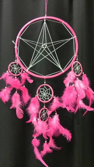 Pink Pentagram with Silver Thread Dreamcatcher  22cms
