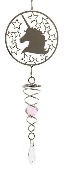 Unicorn Pink Crystal Wind Spinner
