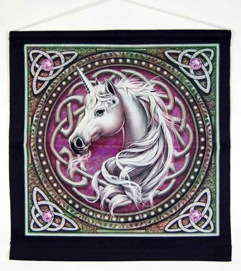 Wall Hanging Celtic Unicorn Purple. Design By Lisa Parker