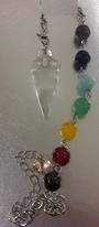 Clear Quartz Plumbob with Chakra Chain Pendulum