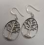 Sterling Silver Oval Tree of Life Earrings