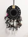 Black Crochet with White Feathers 22cms