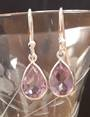 Sterling Silver with Amethyst Stone 7x9 mm Earring 2.5cm Drop