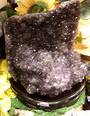 Amethyst Flower Druzy on a Wooden Stand