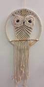 Beige Owl Trailing Dreamcatcher  31cms