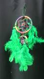 Small Rainbow Dreamcatcher with Green Feathers