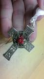 Silver Celtic Cross with carved Coral Rose