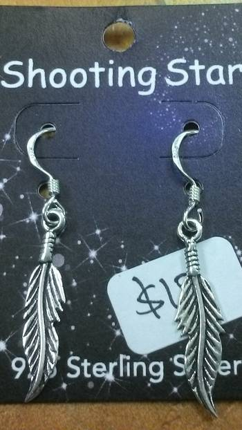 Silver Feather Hook Earrings
