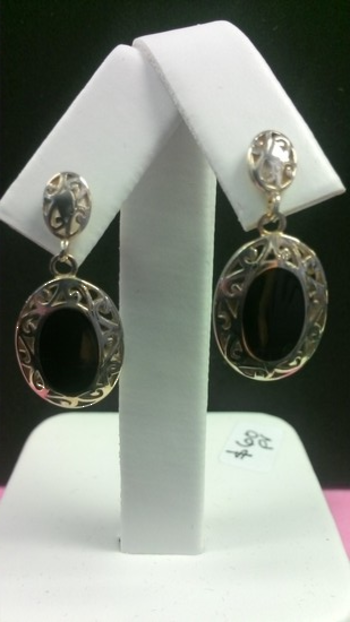 Onyx and Silver Ear Studs