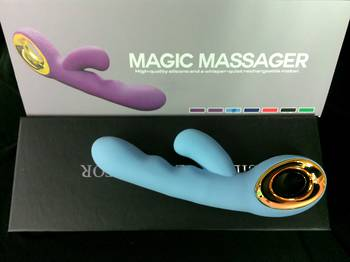 Luxury Magic Massager Silicone Vibe with Clit Stimulator Blue