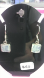 Square Rainbow Moonstone Earrings