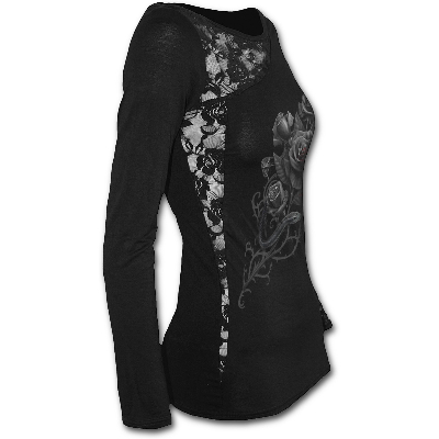 FATAL ATTRACTION - Lace One Shoulder Top Black z-570