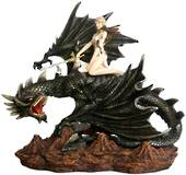 Female warrior with Sword riding on Black Dragon was $250 now $150